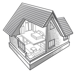 Two-floor house in the section illustration