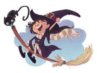 niña bruja volando