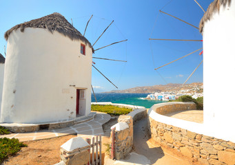 View through Mykonos windmills