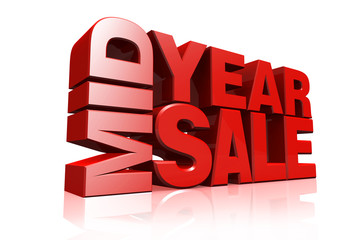 3D red text mid year sale