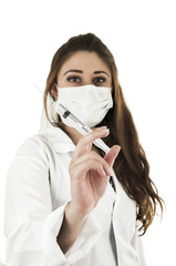 Beautiful friendly female doctor wearing a mask holding an