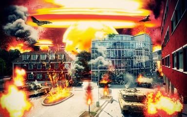 Città sotto attacco, assedio, guerra, apocalisse, terrorismo