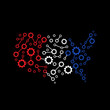 America Gear map red white blue
