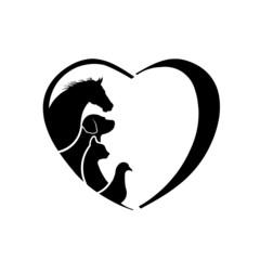 Veterinarian Heart Horse love logo