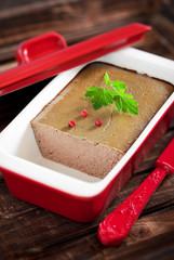 Chicken liver pate in terrine form, selective focus