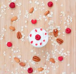 Dessert of raspberries, oats, nuts