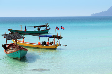 Cambodian Boats with flags