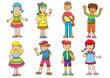 set of cartoon kids