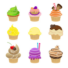 set of cupcake vector symbol on white background