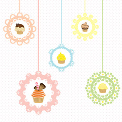 Cupcake vector on label