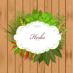 Vintage card with herbs and spices on a wooden background
