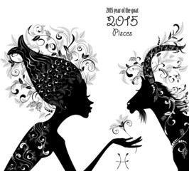 2015 year of the beautiful goat and Zodiac sign pesces. fashion