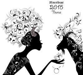 2015 year of the beautiful goat and Zodiac sign taurus. fashion