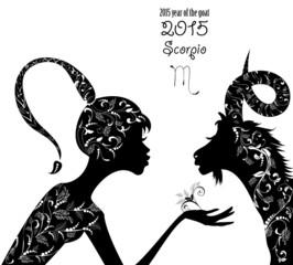 2015 year of the beautiful goat and Zodiac sign scorpio. fashion