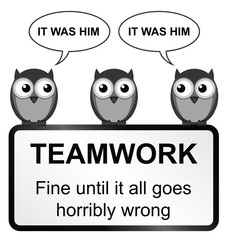 Monochrome comical teamwork sign