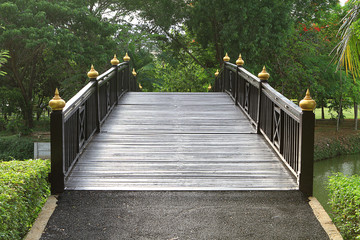 Footbridge in public park, Sri nakhon khuean khan park, Thailand