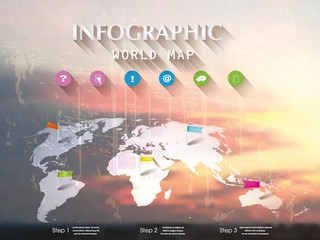 Cloudy sky background with infographic design elements