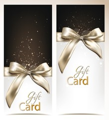 Elegant vector holiday banners with silk bows
