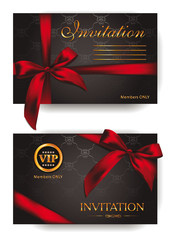 Elegant invitaton cards with red bows