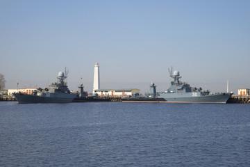 Малые противолодочные корабли на военно-морской базе. Кронштадт
