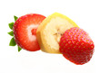 Ripe banana and berry strawberry isolated