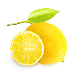 Lemon with green leaf isolated