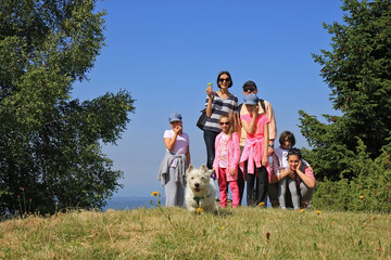 Family with dog on the hiking