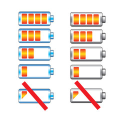 Battery charge showing stages vector set