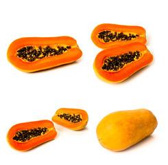 Set of ripe papaya fruit over white