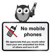 Monochrome comical no mobile phones sign