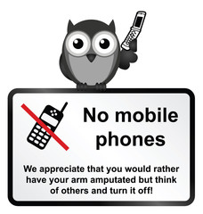 Monochrome comical no mobile phones sign