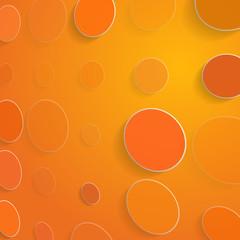 Color circles on orange background - vector illustration