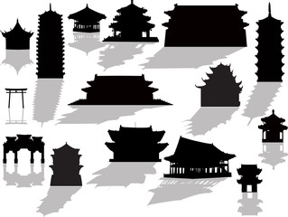 isolated pagoda silhouettes with shadows