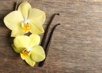 Vanilla pods and orchid flowers