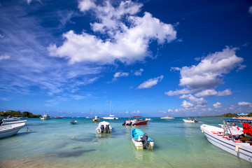 Boats in turquoise bay in Dominican Republic