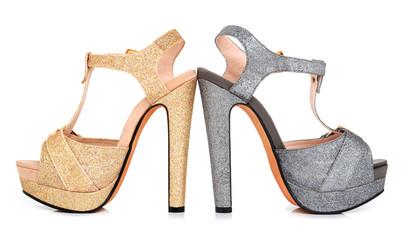 Golden and grey luminous woman shoes