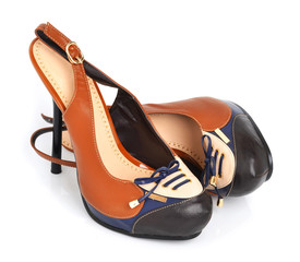 Stylish brown woman shoes isolated