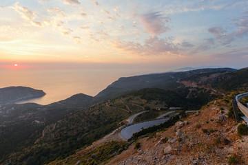 Sunset view of Assos peninsula (Greece,  Kefalonia).