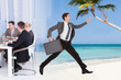 Businessman Escaping From Conference Meeting Towards Beach