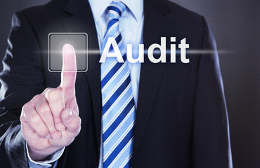 Businessman Touching Audit Button