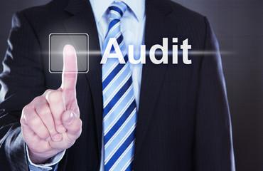 Businessman Touching Audit Button