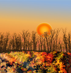 Autumn landscape with sunset and trees in the background