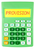 Calculator with provision on display isolated on white poster