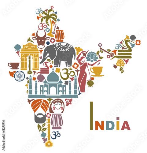 Fototapeta Map of India