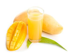 Mango juice and fruit isolation white background