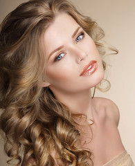 Perfection. Gorgeous Female with Frizzy Ashen Healthy Hair