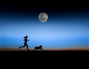 running women and dog