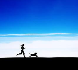 running women and dog.