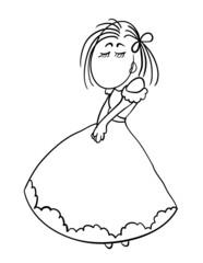 shy cartoon girl in a dress, vector