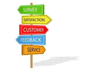 CUSTOMER FEEDBACK Signposts (icon service survey satisfaction)